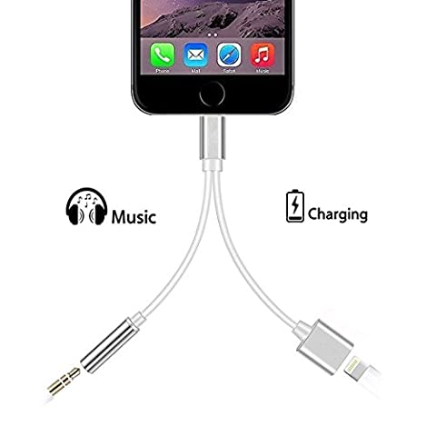 2-in-1 iphone 7 Adapter Splitter Lightning Fast Charger and 3.5mm Headphone Audio Jack Adapter Connector Cable for iphone 7 7 - Delicate Audio Equipment