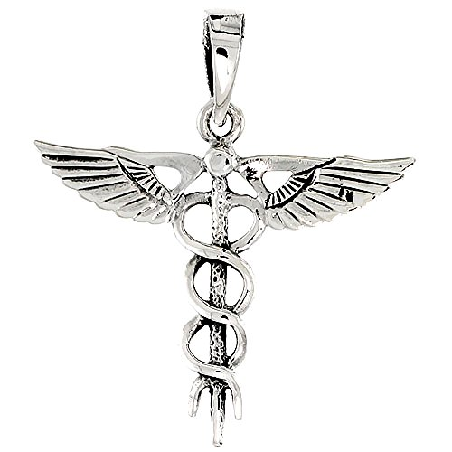 Sterling Silver Caduceus Medical Insignia Charm, 1 1/8 inch tall