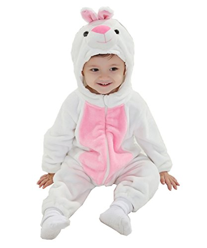 Cute Bunny Outfits (JOYHY Unisex Baby Infant Fluffy Rompers Cute Animal Costume Outfits White Bunny)