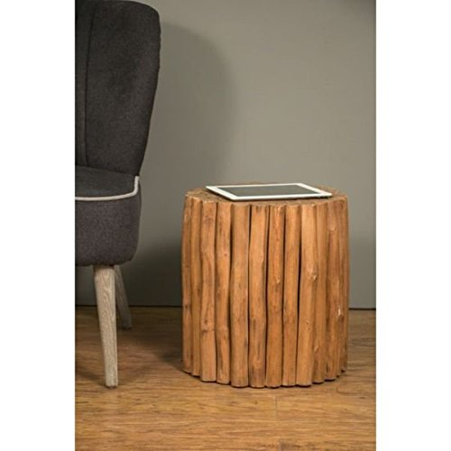 Contemporary Modern Eco-Friendly Round Decorative Everson Round Wooden Stool. 15 in Long x 15 in Wide x 16 in Deep - Assembled by Crafted Home