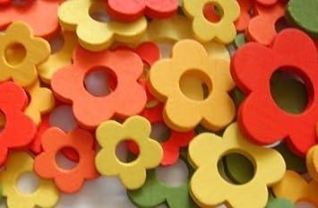 Tischdeko holz blumen  144 Stk Holzblumen Mix rot grün orange gelb Streudeko Tischdeko ...