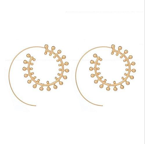 9 Pairs Golden Bohemian Vintage Tribal Swirl Spiral Hoop Earrings Set For Women N5D7FjCVNh