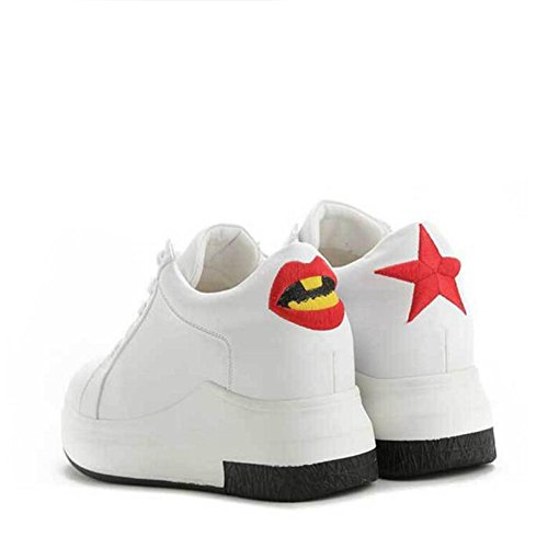 L@YC Femmes Chaussures plates au printemps Chaussures de sport accrues de loisirs Lacets , white , 38