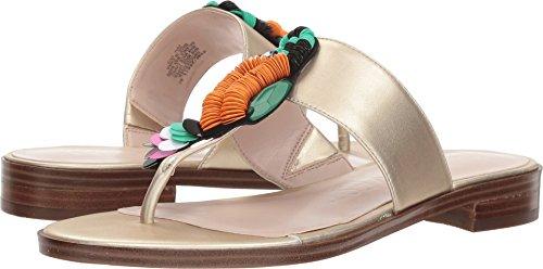 Nine West Flat Sandals - Nine West Women's ROSERIVER Synthetic Sandal, Light Gold, 12 M US
