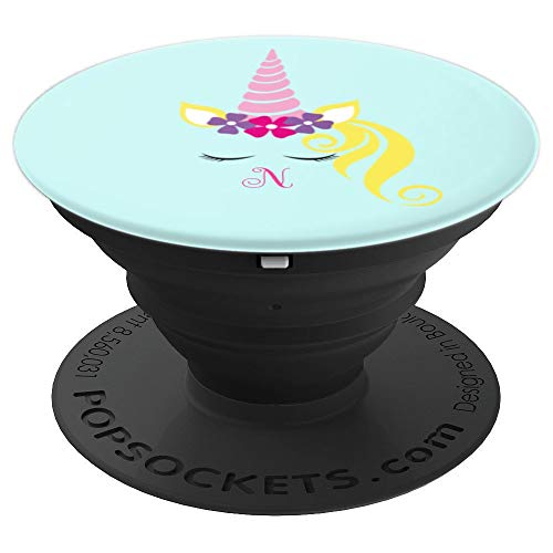 Unicorn Monogram Letter N Magic Pastel Personalized Initial - PopSockets Grip and Stand for Phones and Tablets