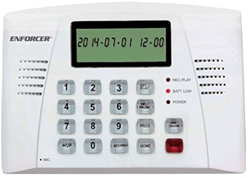 (SECO-LARM E-921CPQ Automatic Voice Dialer for Security Systems, Trigger-activated alarm and dialer with user-programmable 20-second alarm message, 16-Digit large display with date/time and function icons)