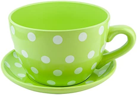 Other Ceramic Large Teacup & Saucer Planters Green Polka