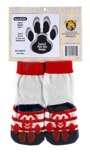 Power Paws, traction socks for dogs, XXL, White w/Flag by Woodrow Wear