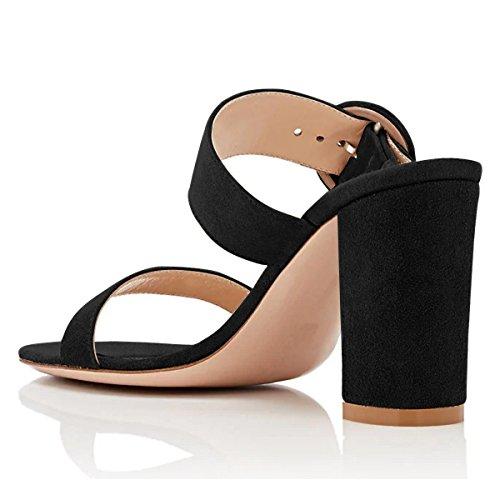 Toe Suede Women High Sandals Chunky Black Slip YDN On Shoes Dress Open Heels Pumps Pvqt6x