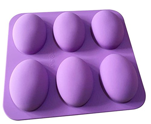 TOOTO Glossy Silicone Mold for Soap, Cake, Bread, Cupcake, Cheesecake, Cornbread, Muffin, Brownie, and More (6 Cavity Oval Shaped)