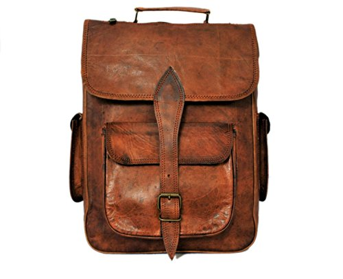 Large Genuine Leather Backpack Bag - Handmade Genuine Leather Backpack Laptop Bag for Men Women Gift for Him Her