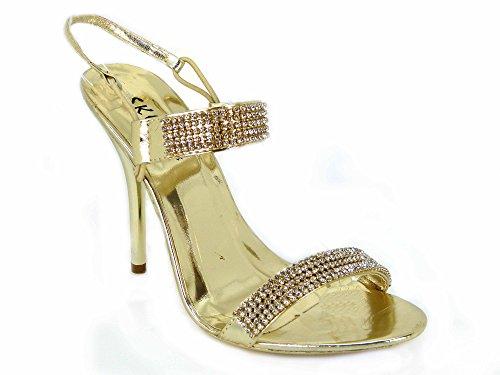 Damen-Pumps mit Pfennigabsatz, für Braut, Hochzeit, Ball, Party, klassischer Look Gold (21392)