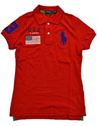 Polo Ralph Lauren Women\u0026#39;s Big Pony USA Skinny Mesh Polo