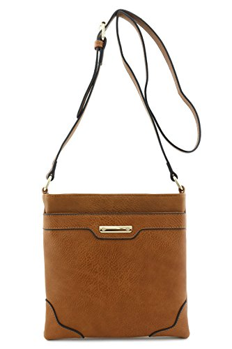 Women's Medium Size Solid Modern Classic Crossbody Bag with Gold Plate (Brown) - Brown Womens Bag