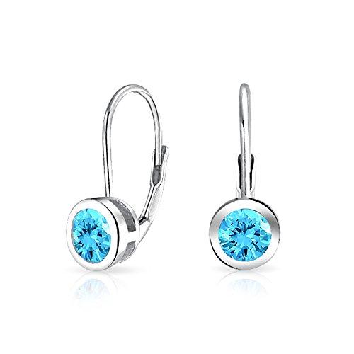 Bling Jewelry 925 Silver Simulated Aquamarine CZ Bezel Set Drop - Drop Set Bezel Earrings