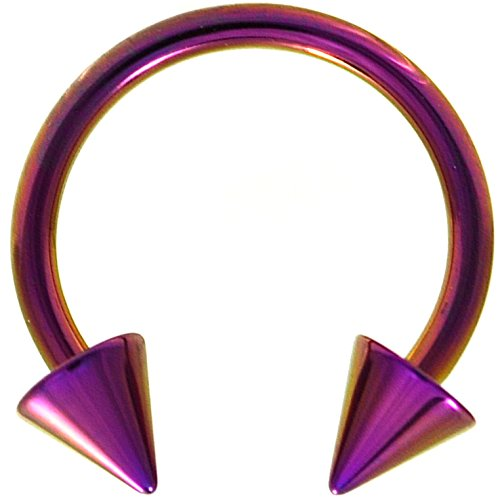 14G(1.6mm) Purple Titanium IP Steel Circular Barbells Horseshoe Rings w/Spike Ends (Sold in Pairs) (14 Gauge 1/2