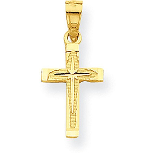 10K Yellow Gold Diamond-Cut Cross Pendant - (0.79 in x 0.43 in)