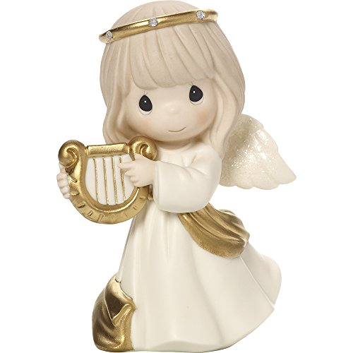 (Precious Moments Make Sweet Melody Angel With Harp Bisque Porcelain Figurine 171023)