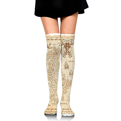 (Hizhogqul Old Ancient Antique Treasure Map With Details Retro Color Adventure Sailing Pirate Print Women's Fashion Over The Knee High Socks)