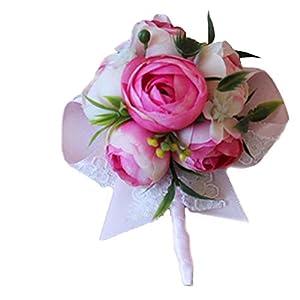 Estyle Fashion Wedding Artificial Flower Wrist Corsage Bridal Bridegroom Brooch Bracelet Mens Ladies Boutonniere 82