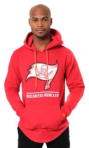 Icer Brands NFL Tampa Bay Buccaneers Men's Fleece Hoodie Pullover Sweatshirt Embroidered, Small, Red