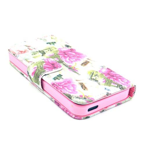 MOONCASE iPhone 5 Case Leder Tasche Flip Case Cover Schutzhülle Etui Hülle Schale für iPhone 5 5S