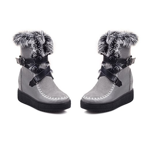 Kitten Round Low Buckle Boots Closed Material Toe AmoonyFashion top Heels Soft Women's Gray qwOUz60I