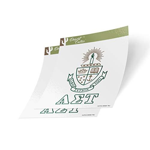 Desert Cactus Alpha Sigma Tau Crest & Letter 2-Pack Sticker Decal Greek for Window Laptop Computer Car (Crest Sticker)