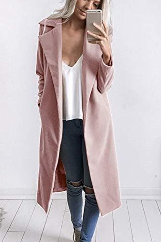 De Elegante Joven Clásicas Retro Windbreaker Anchos Invierno Mujer Pink Largos Gabardina Outdoor Chaqueta Moda Solapa Parkas Otoño w6ExTqX