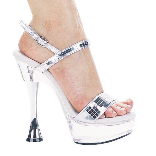 (Women's 6 Inch Silver Cone Heel Mirror Sandal (Silver;6) )