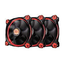 Thermaltake CL-F055-PL12RE-A Riing 12 Static Pressure Circular Ring Red Led Case/Radiator Fan with Anti-Vibration Mounting System, 3 Pack Cooling