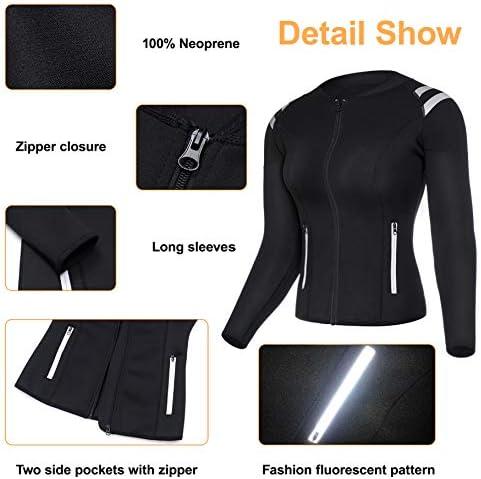 LODAY Womens Neoprene Sauna Body Shaper Suit Hot Sweat Tummy Slimmer Workout Jacket Top Full Zip Up 5
