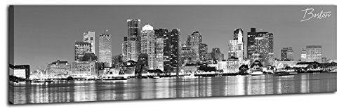 DJSYLIFE-Boston Skyline Wall Art-Canvas Wall Art-Black and White Modern Panoramic Cityscape Pictures Paintings for Bedroom Office Decor, Ready to Hang 13.8