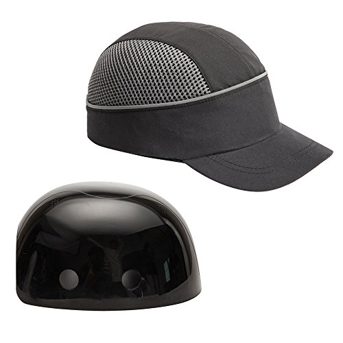 Safety Bump Cap with With Reflective Stripes, Lightweight and Breathable Hard Hat Head Protection Cap(Short,Black)