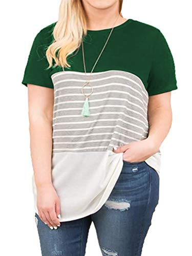 VISLILY Women's Plus Size Striped Tops Short Sleeve Casual Tee Shirts Green 16W