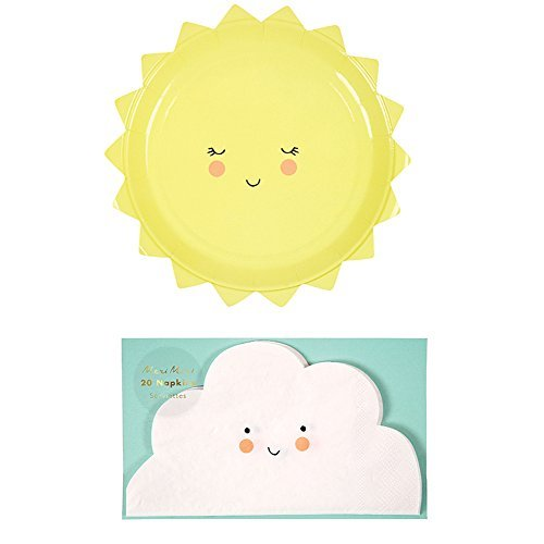 Meri Meri Baby Shower/Birthday Party Pack: Sun Plates and Cloud Napkins