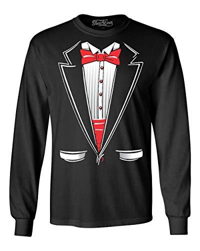Shop4Ever Classic Tuxedo Long Sleeve Shirt Costume Shirts X-Large Black A82 ()