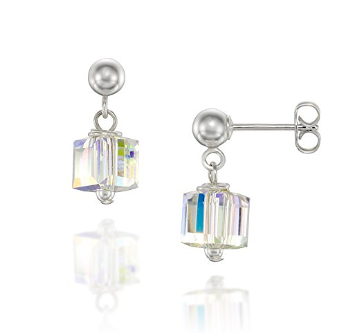 925 Sterling Silver Cube Stud Earrings Made with Original Swarovski Square AB Crystals