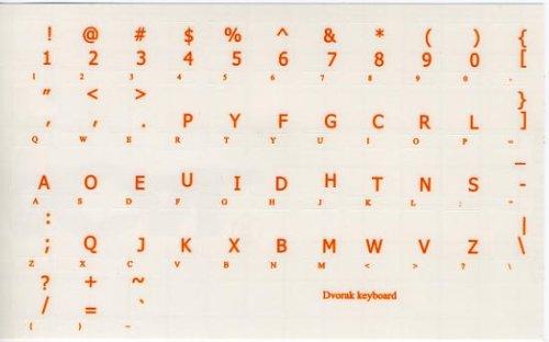 DVORAK SIMPLIFIED KEYBOARD STICKER WITH RED LETTERING TRANSPARENT BACKGROUND FOR DESKTOP LAPTOP AND NOTEBOOK