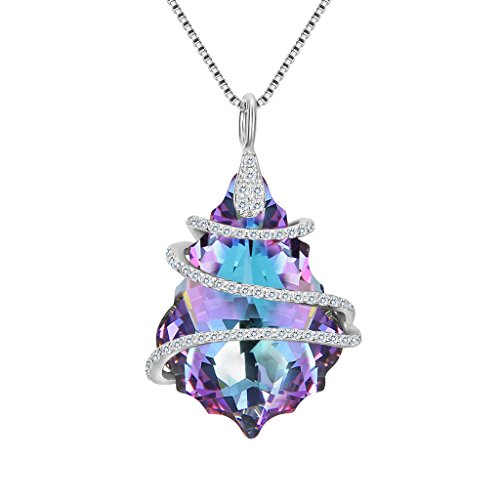 EVER FAITH 925 Sterling Silver CZ Baroque Pendant Necklace Purple Adorned with Swarovski Crystals - Sterling Silver Pave Crystal