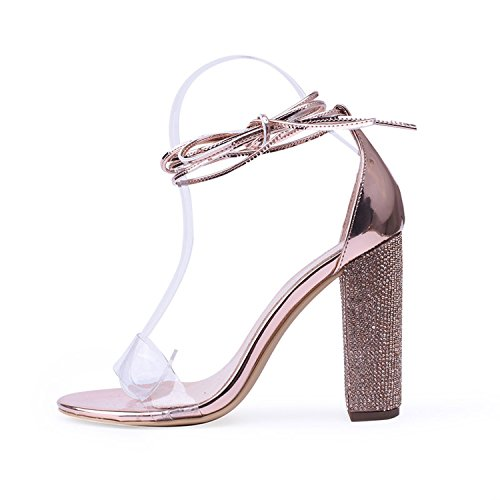2018 Women High Heels Sandals Rose Gold 9cm 11cm Lace up Ankle Strap Sandals Open Toe Size 5-11,11cm Whole,6