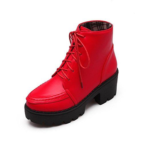 AmoonyFashion Womens Soft Material Round Closed Toe Solid Low Top Kitten-Heels Boots Red pmvVzWk