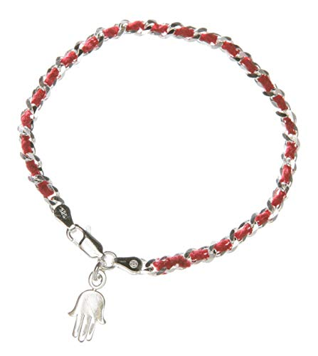 Red String Silver Protection Bendel Bracelet with Lucky Hamsa Charm in Silver | Alef Bet by Paula ()