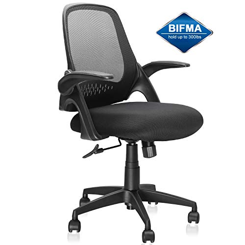 Mid-Back Office Chair, Ergonomic Desk Chairs Swivel Computer Task Chairs with Adjustable Height and Flip-up Armrest