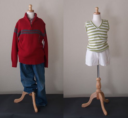 Kids 7-8 Years Child Jersey Mannequin Dress Form - Boy or Girl - White with Natural Tripod Base by EZ-Mannequins (Image #1)