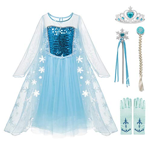 aibeiboutique Snow Queen Princess Elsa Costume Toddler Girls Sequins Dress Up ()