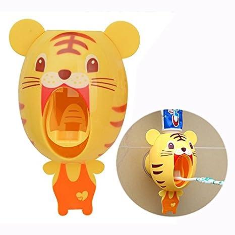 Cisixin dispensadores de Cepillo de Dientes, Manos Libres niños Dibujos Animados automático Animal dentífricos exprimidor, Kids Hands Free Toothpaste ...
