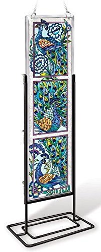 Amia 42022 Hand Painted Beveled Glass Triptych Decor Panel, 4-1/2 by 16-Inch, Peacock Design