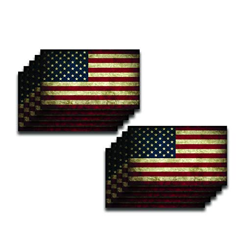 DHDM Vintage Look American Flag Patriotic Military 2nd Amendment Window Bumper Sticker 10-Pack 3 Inches x 5 Inches Premium Quality Vinyl UV Protective Laminate PD2008