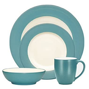 Noritake Colorwave Turquoise 4-Piece Place Setting, Rim Shape